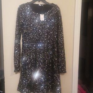 Gap Black Sequin Dress - Small Tall - NWT